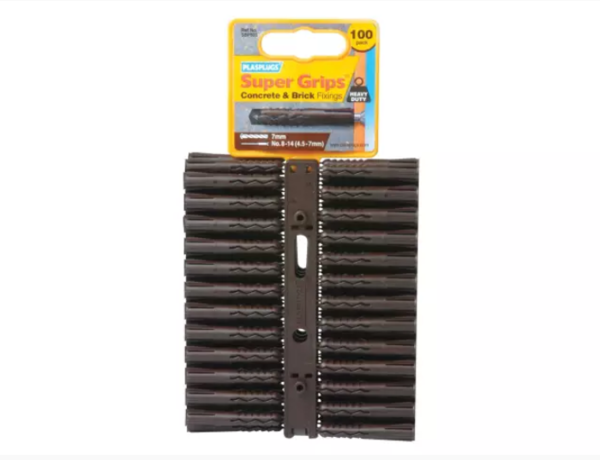 Plasplugs® Solid Wall Super Grips™ SBP 503 Solid Wall Super Grips™ Fixings Brown (Pack of 100)
