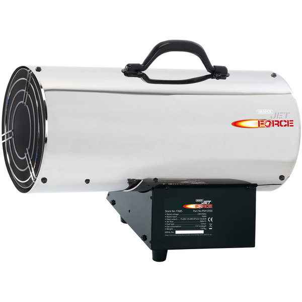 JET FORCE PSH125SS STAINLESS STEEL PROPANE SPACE HEATER (125,000 BTU/37 KW)