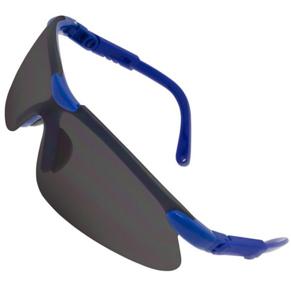Blue Framed Wrap Around Spectacles Smoke (Anti-Fog)