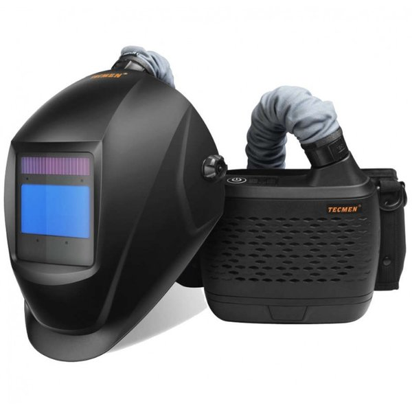 TECMEN AIR FED WELDING HELMET - MATT BLACK RPE System