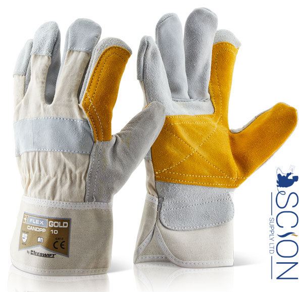 Heavy Duty Double Palm High Quality Canadian Leather Rigger Work Safety Gloves