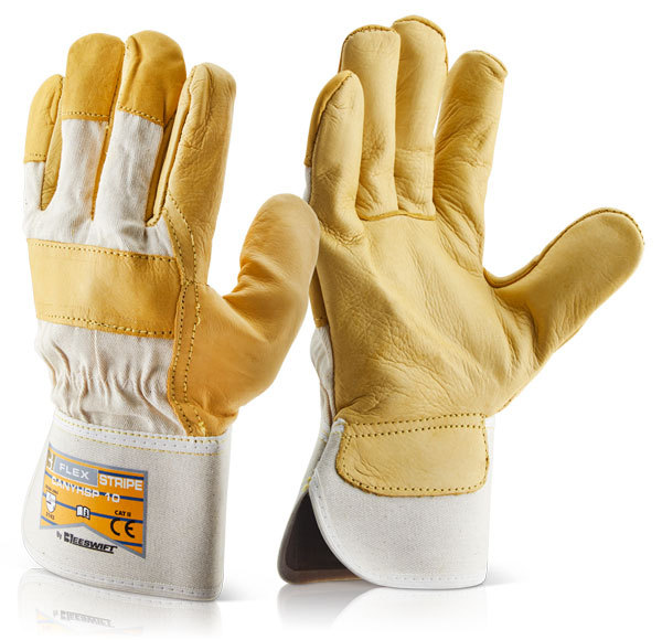 B-Flex Canadian Yellow Hide Leather Rigger Glove Fleece Lined EN388